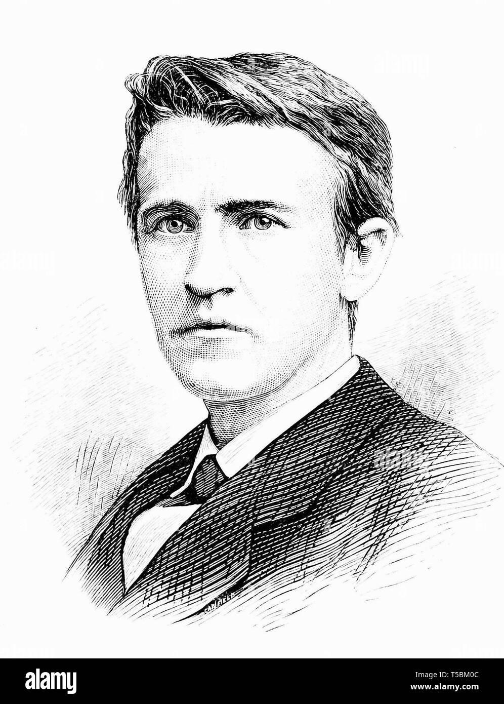 Thomas Alva Edison (1847-1931), portrait illustration, 1878 from Popular Science Monthly magazine Stock Photo