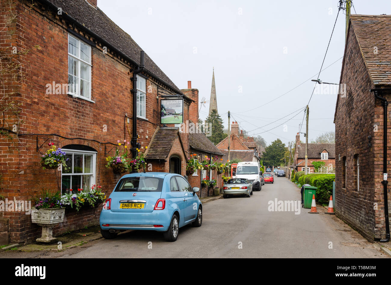 A view down Main Street in the village of Worfield in The Shropshire countryside in the UK. - Stock Image