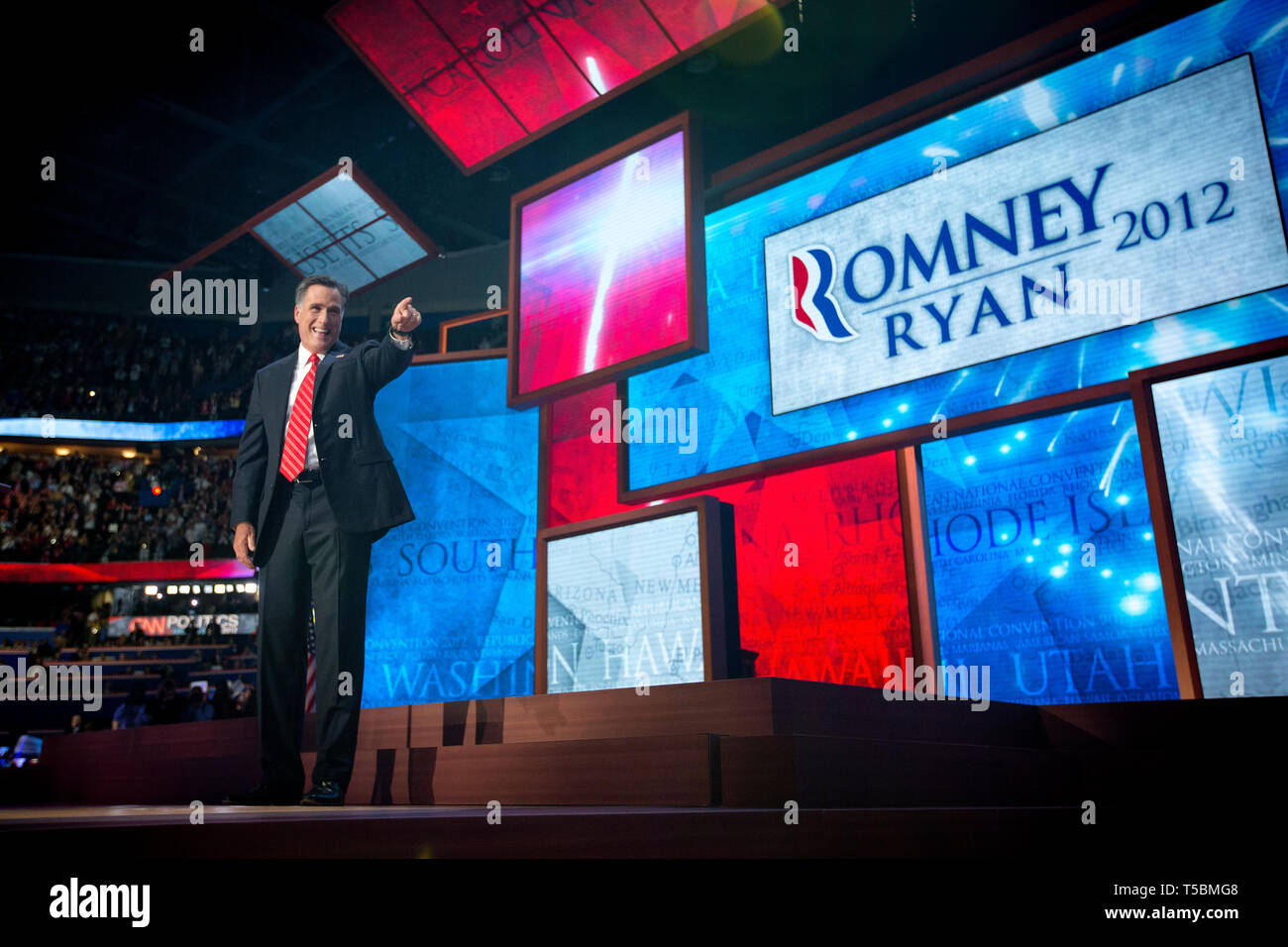 Presidential Hopeful Mitt Romney (R-Ut) holds his acceptance speech after being nominated as the Republican candidate for US President at the Republican National Convention in Tampa. Stock Photo