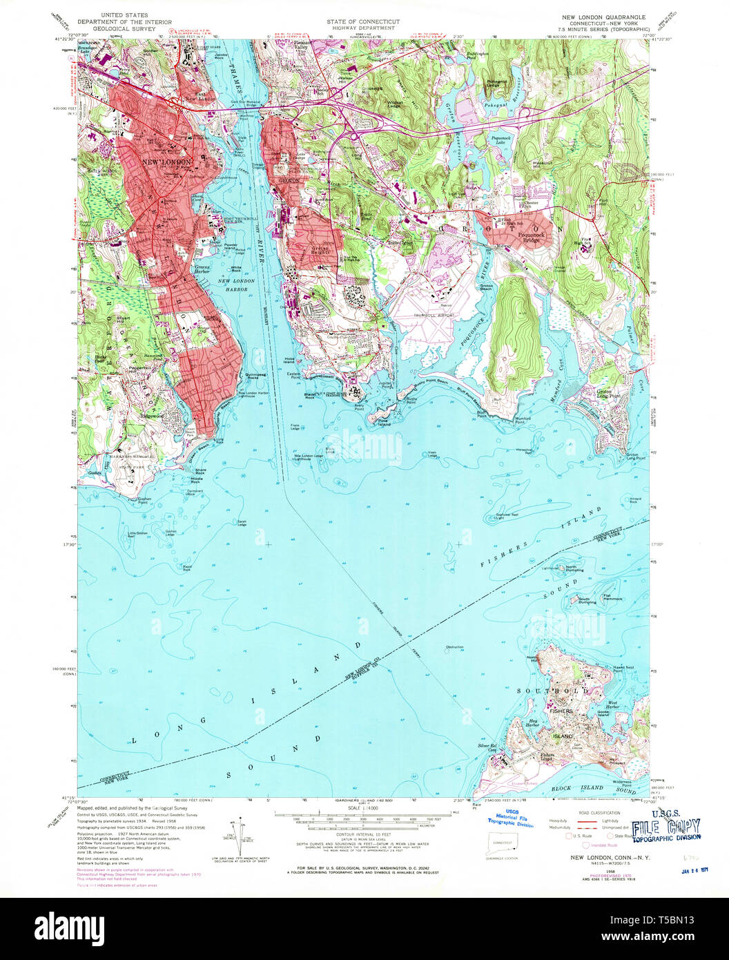 USGS TOPO Map Connecticut CT New London 330727 1958 24000 Restoration - Stock Image