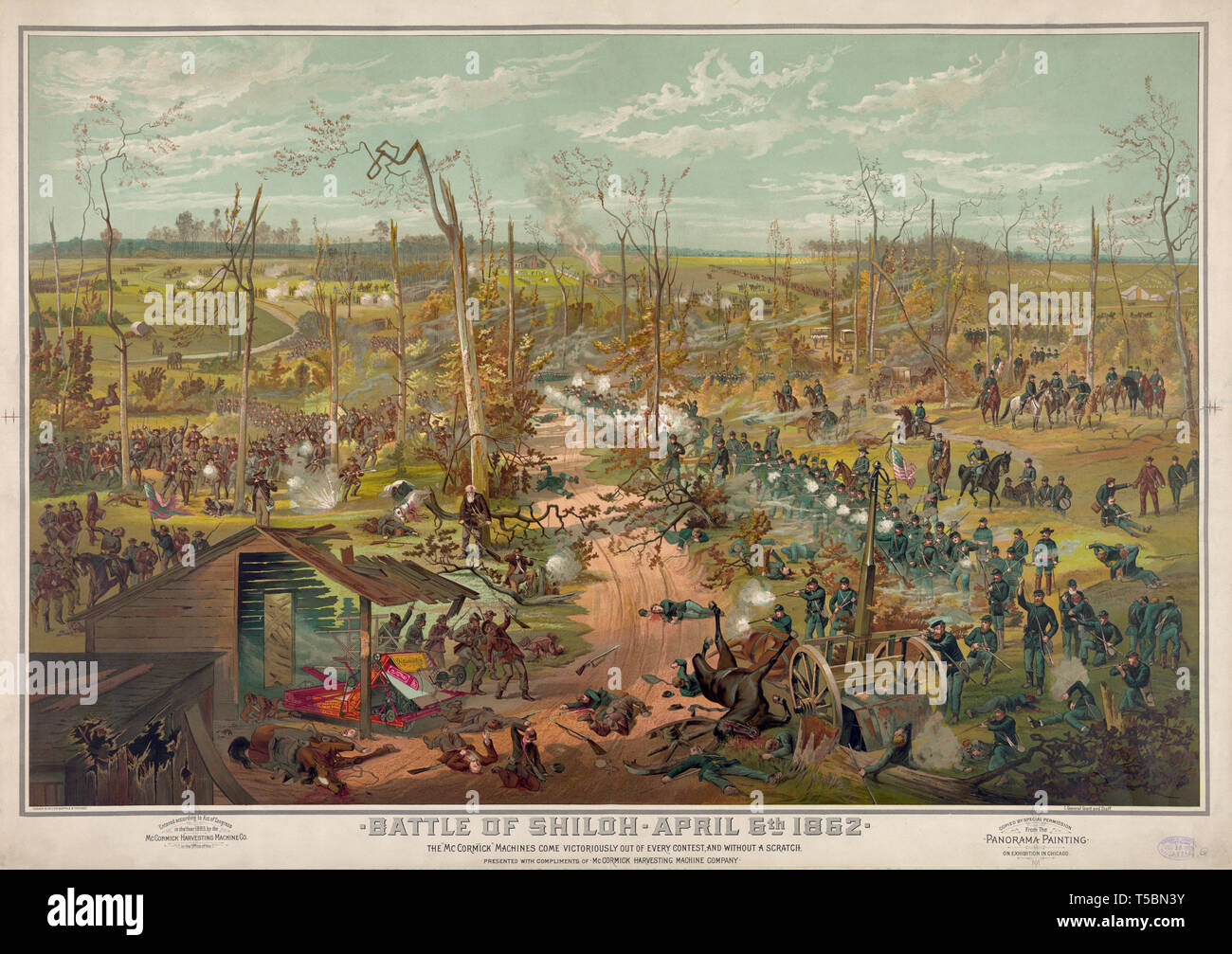 Battle of Shiloh, April 6th 1862, McCormick Harvester & Twine Binder Advertisement from a Théophile Poilpot Panorama Painting, Lithograph, Cosack & Co., 1885 - Stock Image