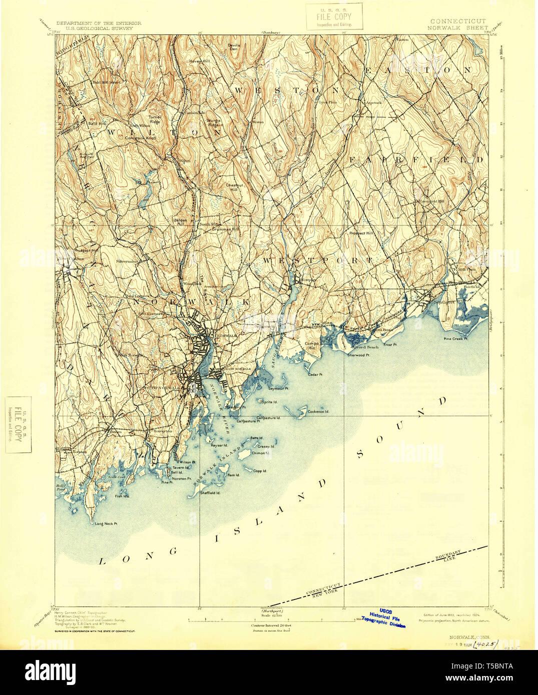 USGS TOPO Map Connecticut CT Norwalk 331133 1893 62500 Restoration ...