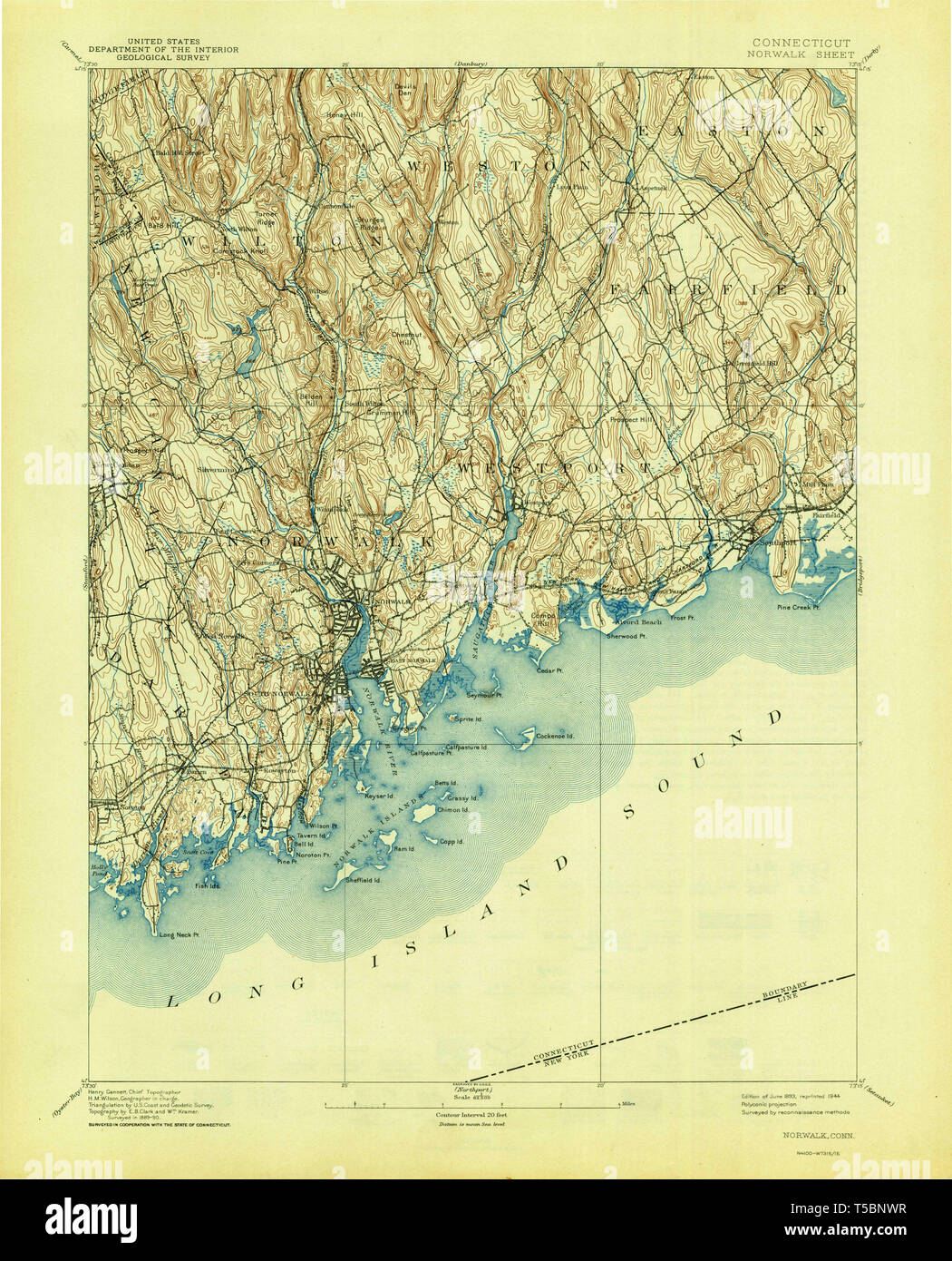 USGS TOPO Map Connecticut CT Norwalk 331136 1893 62500 ...