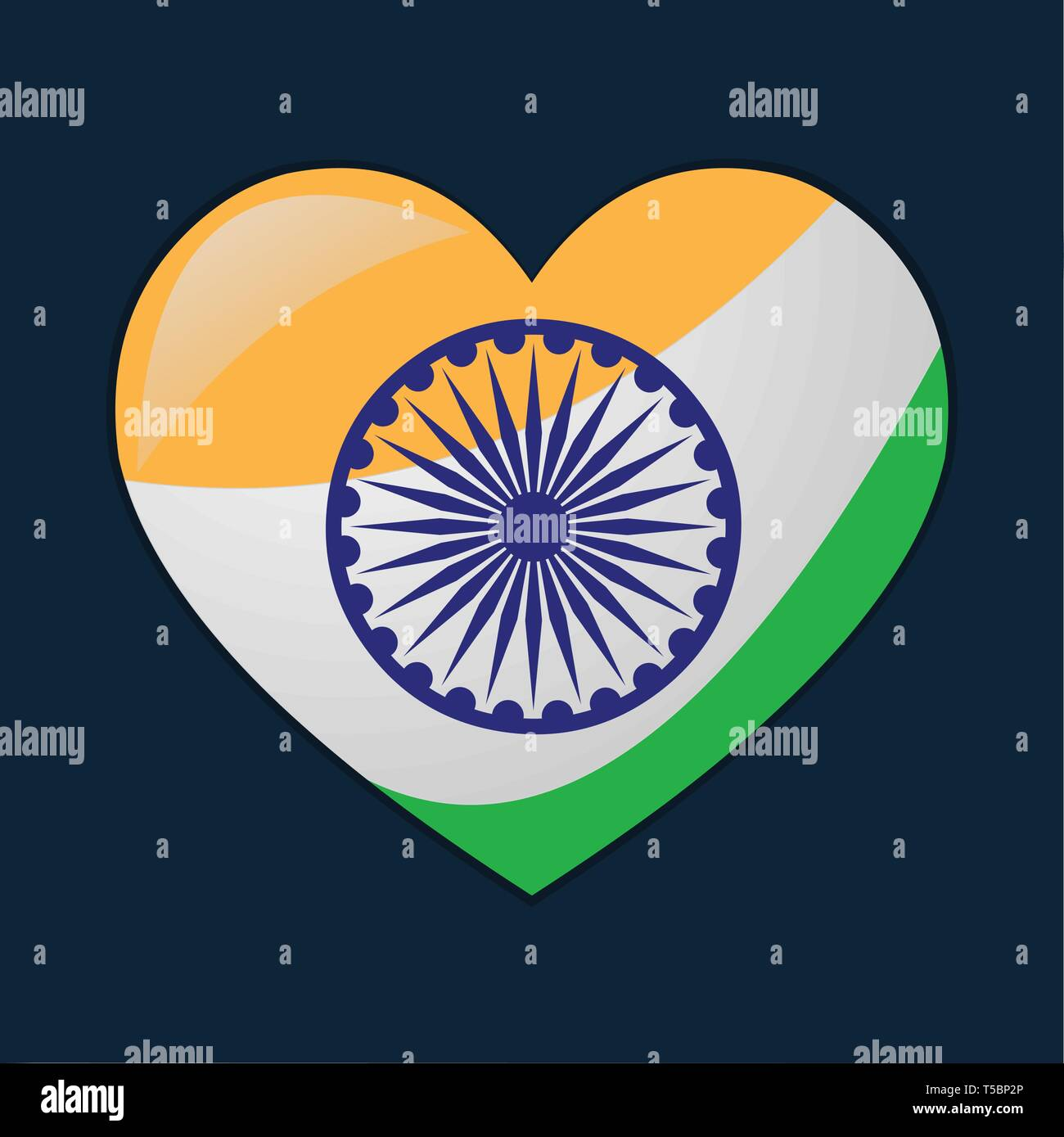 heart with indian flags vector symbol illustration - Stock Vector