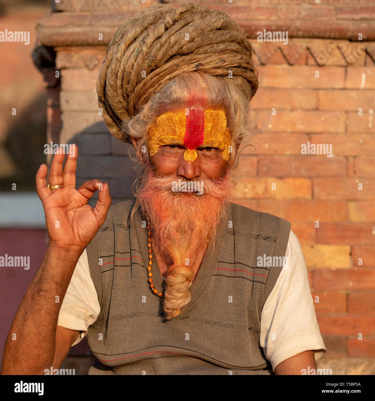 TILGANGA, KATHMANDU, NEPAL - APRIL 2, 2019: one saddhu with rasta dreadlocks - Stock Image