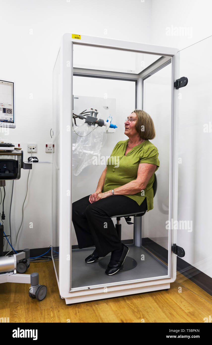 A hospital day patient tests lng function  and capacity at a UK hospital. - Stock Image