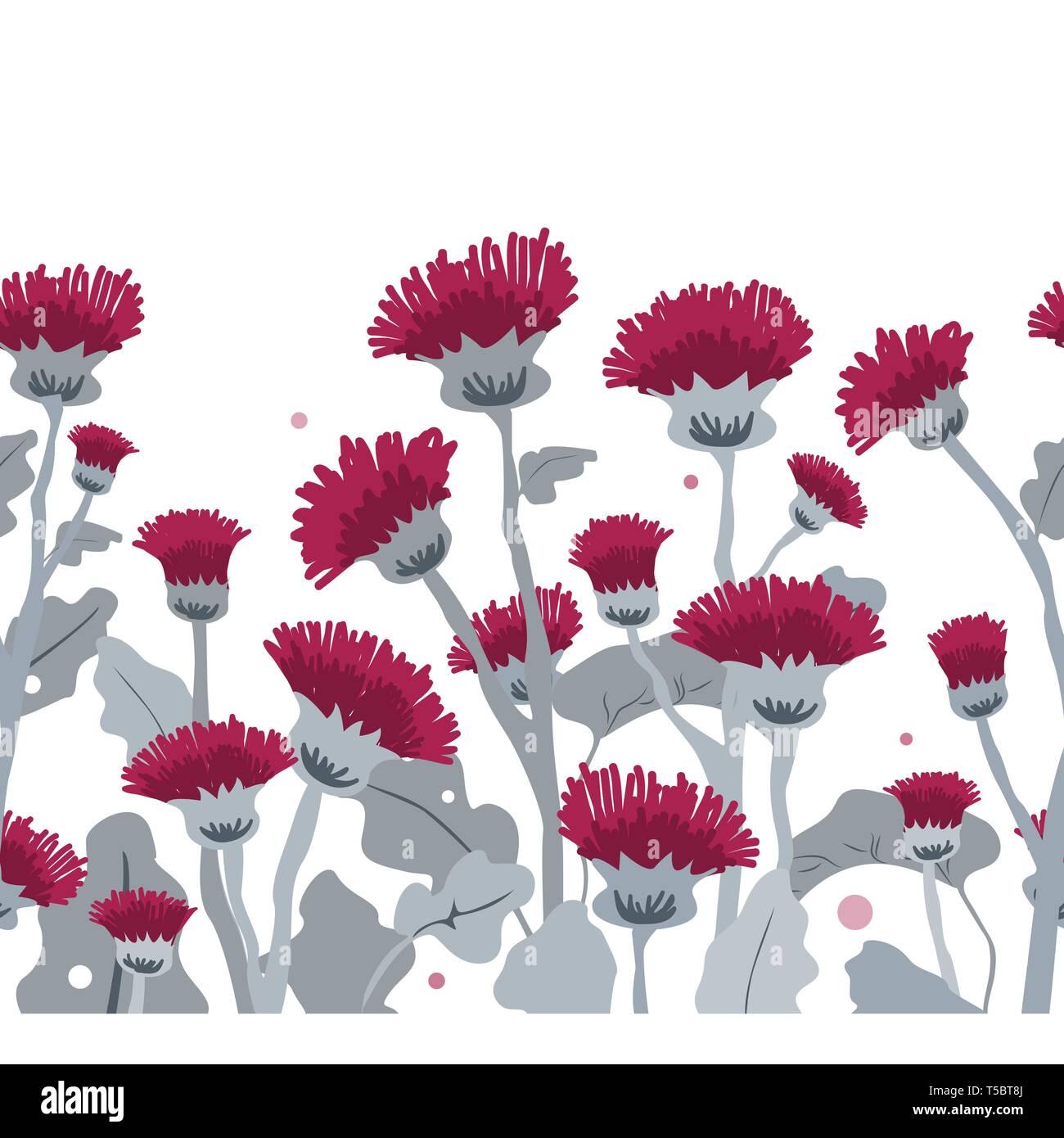 Thistle. Vector seamless border pattern. Hand drawn cartoon illustration on a white - Stock Image