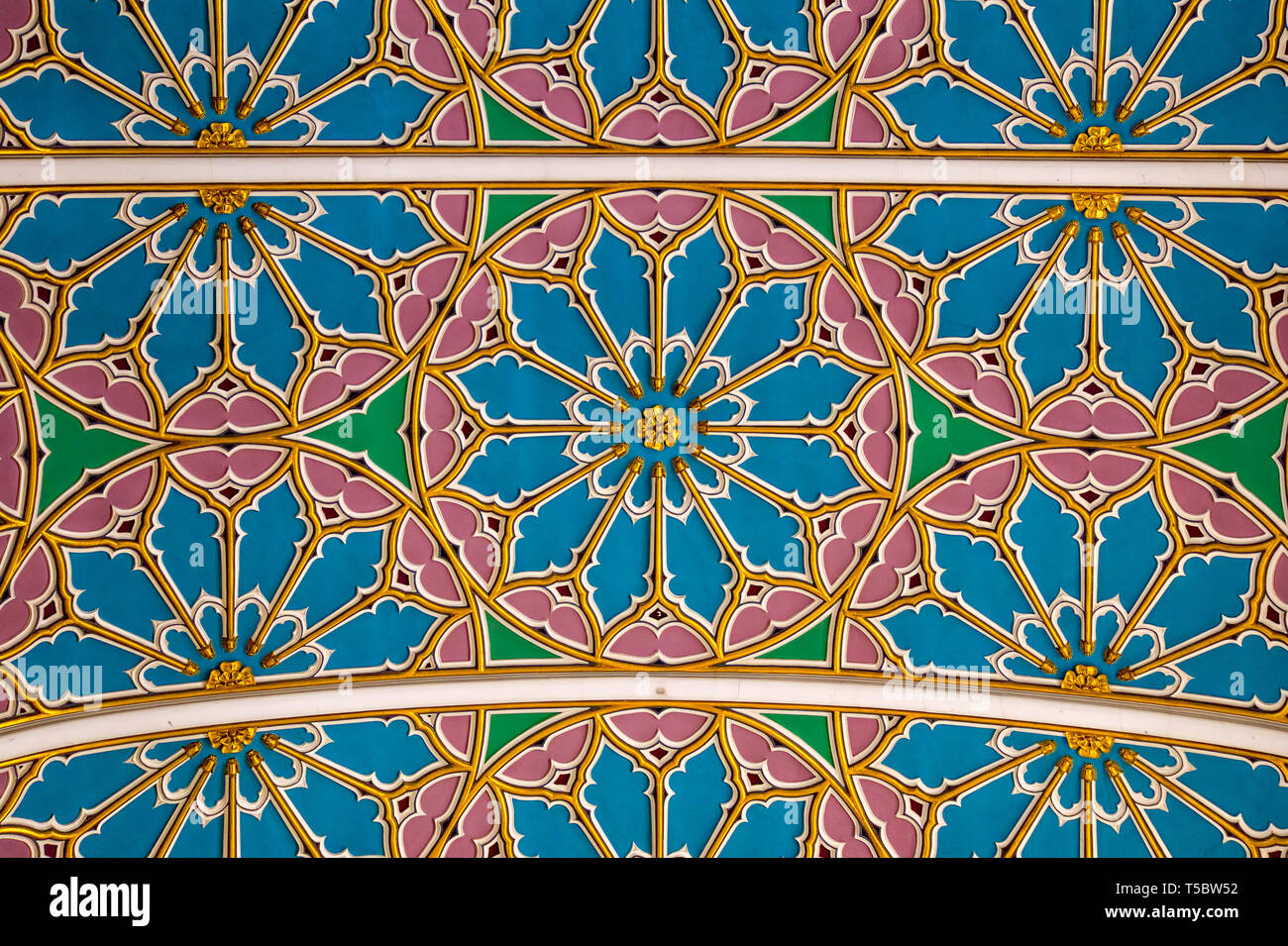 Patterned nave ceiling of Chelmsford Cathedral, Chelmsford, Essex, England, UK - Stock Image