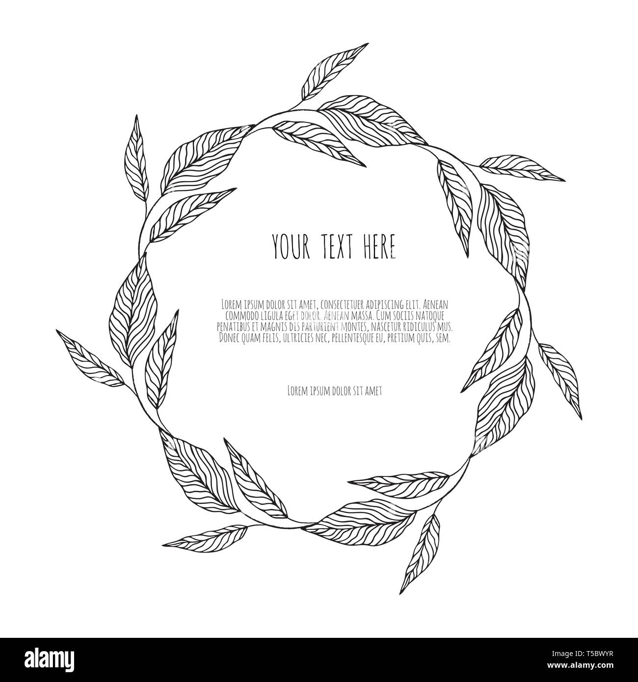 Vector wreath with simple branches and leaves. - Stock Image