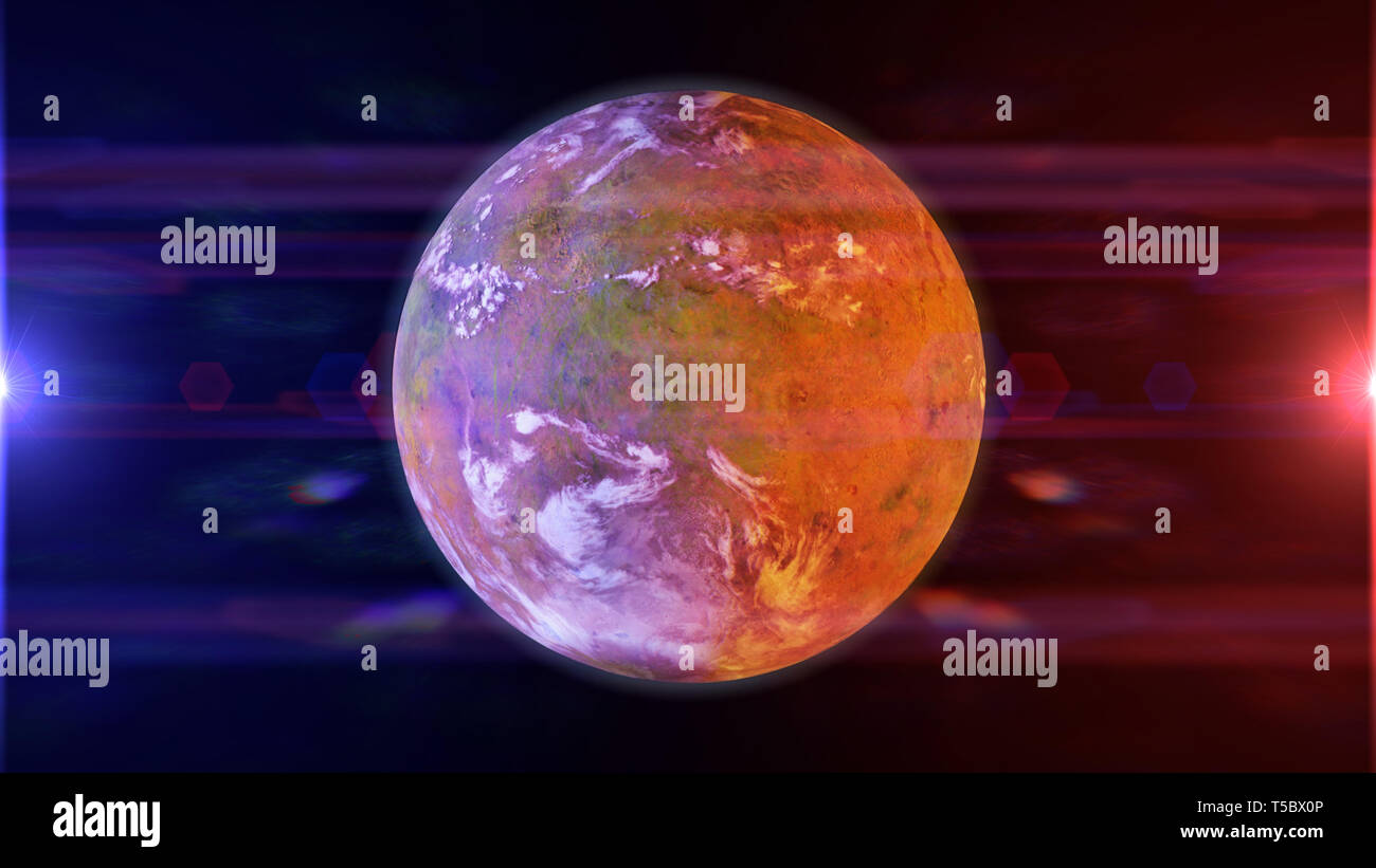 beautiful exoplanet, part of an alien binary star system with a red and blue star (3d space rendering) Stock Photo