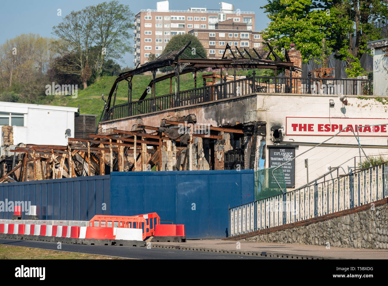 Ruins of The Esplanade pub after fire, carvery and music venue at Western Esplanade, Southend on Sea, Essex, seafront on a sunny day. Space for copy - Stock Image