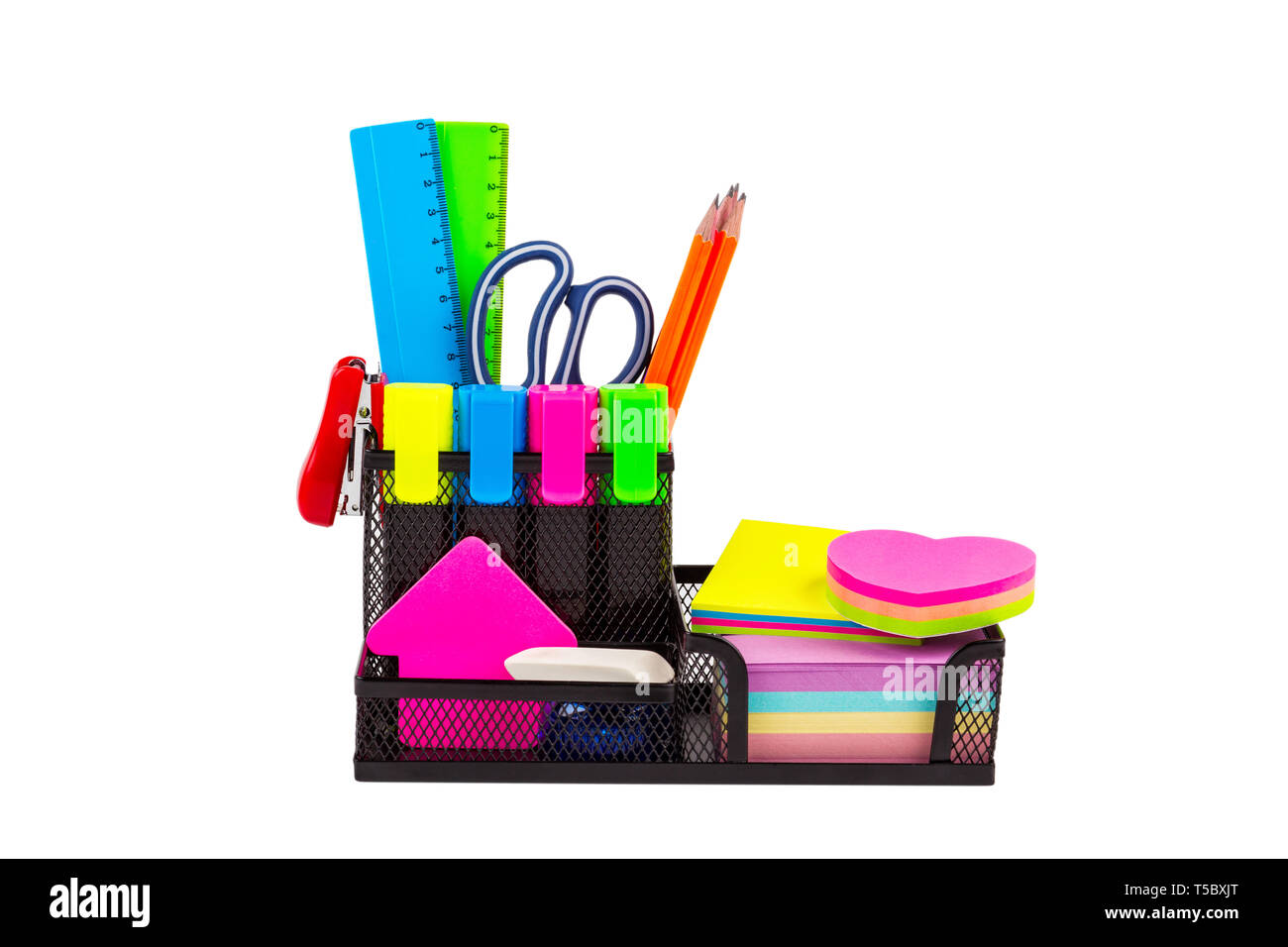 Stationery isolated on white. Markers, pencils, rulers, stickers, stapler, scissors, paints - Stock Image
