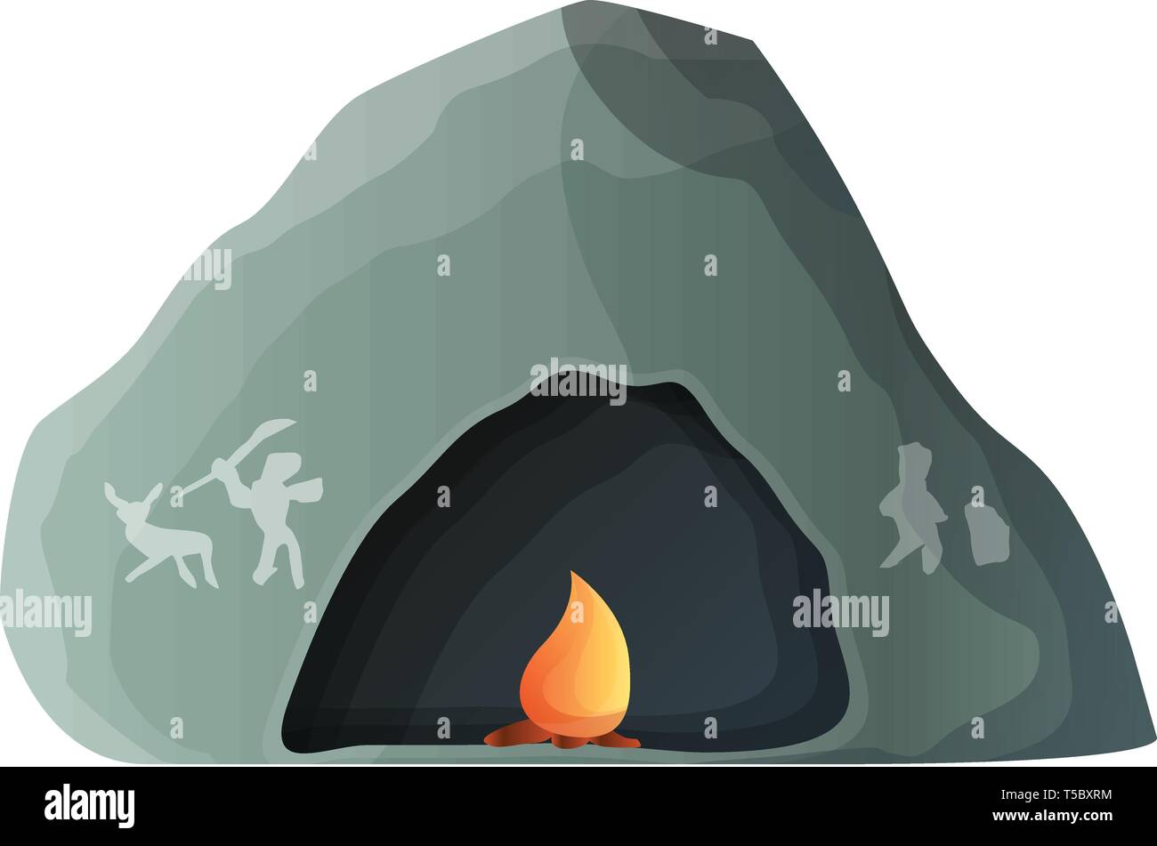 Prehistoric cave icon. Cartoon of prehistoric cave vector icon for web design isolated on white background - Stock Image
