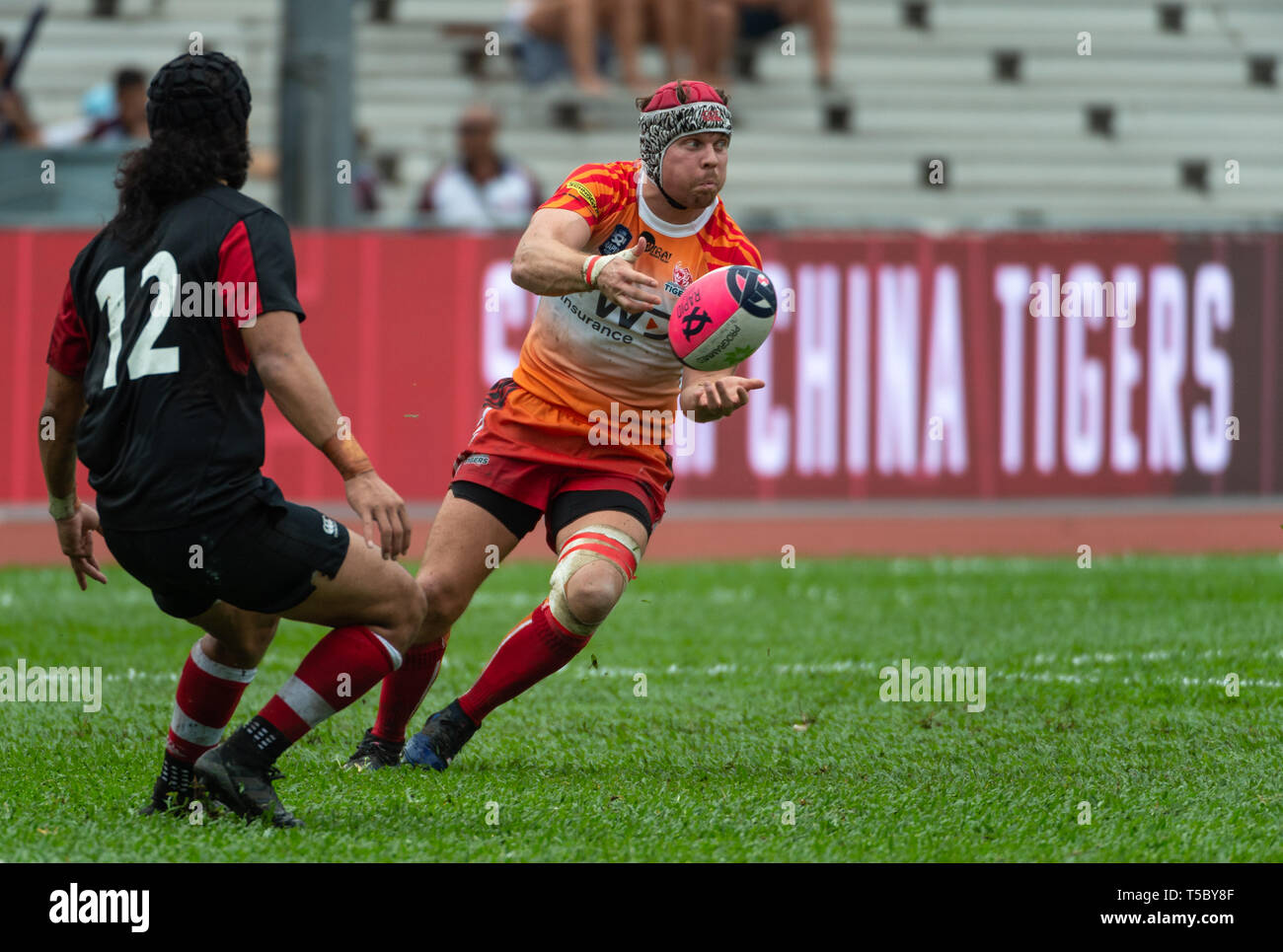 Global Rapid Rugby at Aberdeen Sports Ground Hong Kong. FWD South China Tigers win against the Asia Pacific Dragons Stock Photo