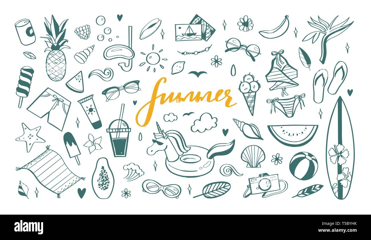 4a5bd84531 Big set of Summer vector design doodle elements. Beach collection, tropical  fruits, swimsuit, surfing. Hand drawn isolated sketches on white backgroun