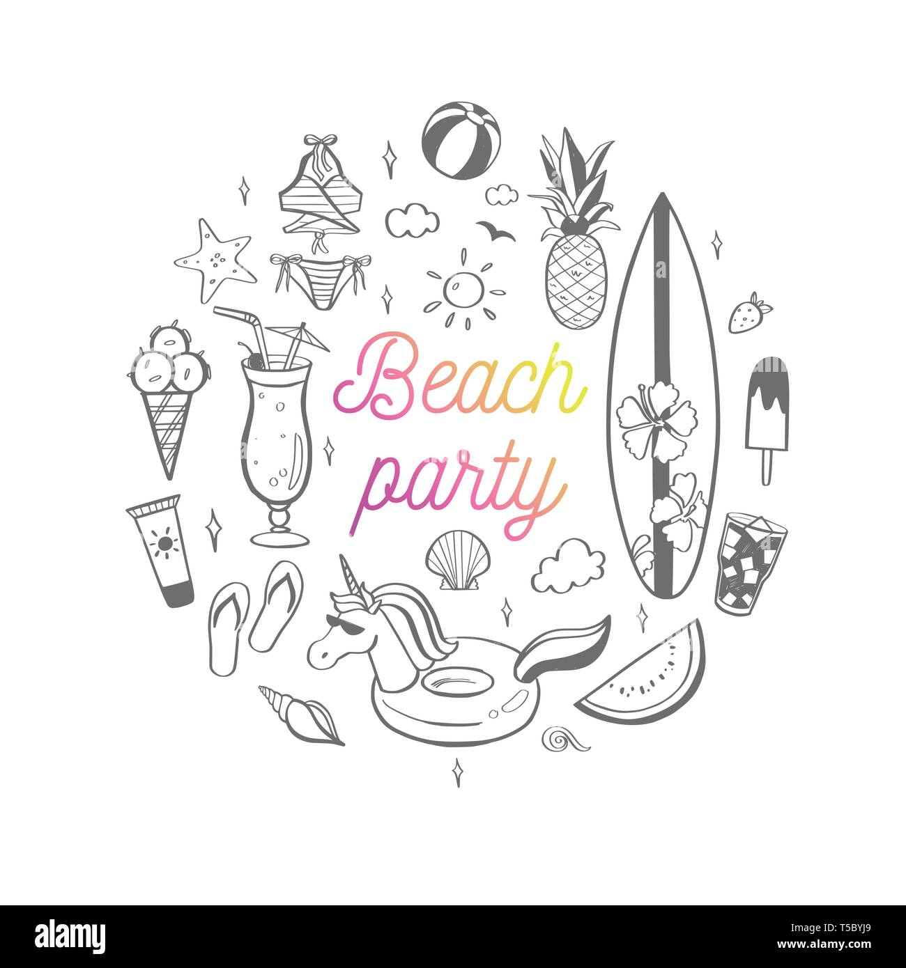 0d2b9d5f3e Big set of Summer vector design doodle elements. Beach collection, tropical  fruits, swimsuit