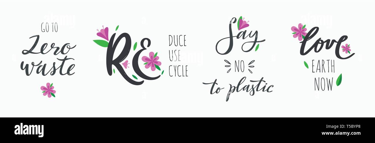 zero waste lifestyle vector hand drawn calligraphy and lettering