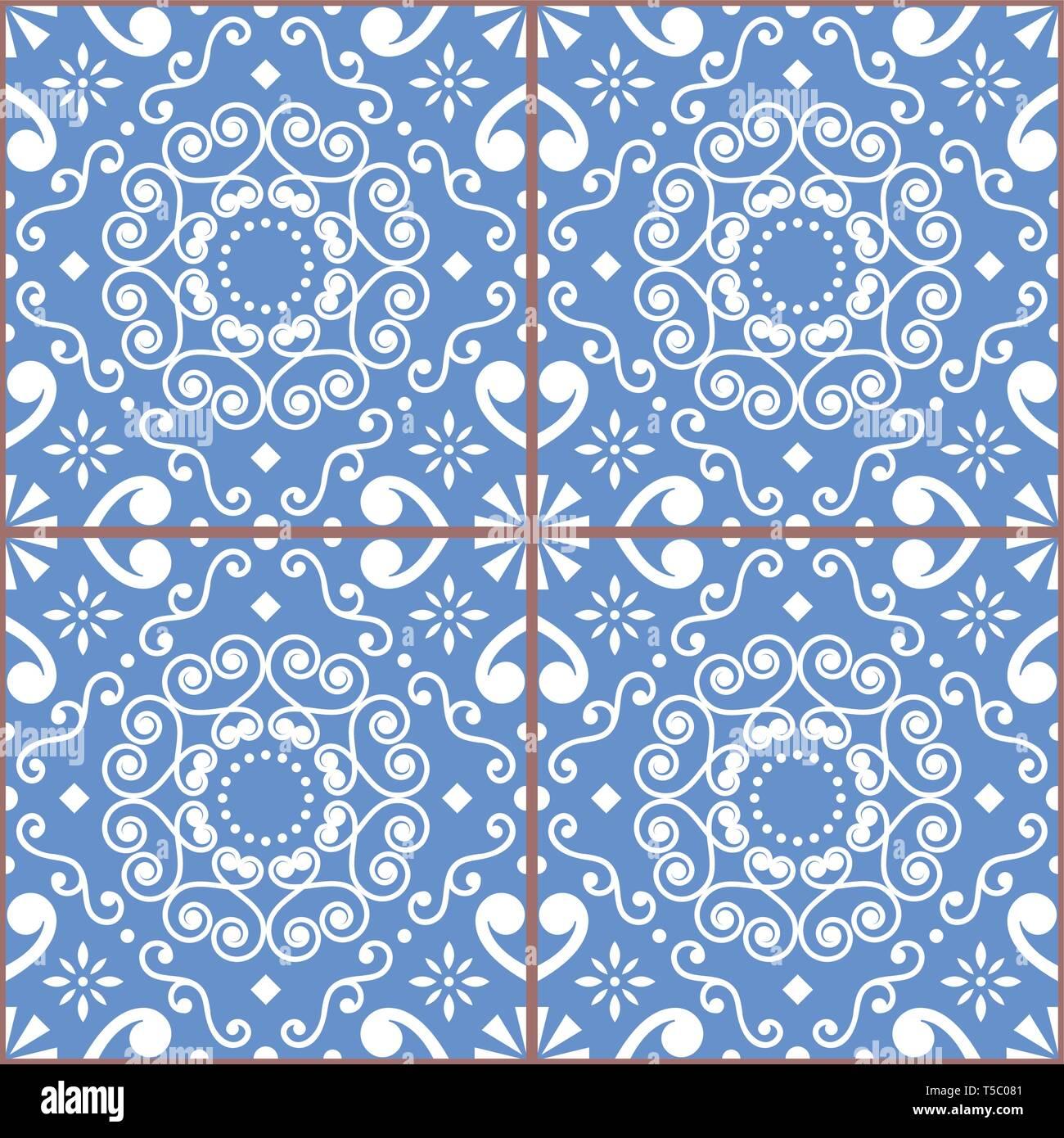 Portuguese or Spanish retro tile Azulejos vector seamless design, geometric background - textile or wallpaper repetitive pattern - Stock Vector