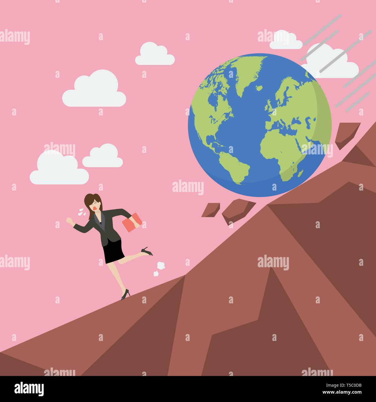 Woman running away from planet earth that is rolling down to her. Climate change concept Stock Vector