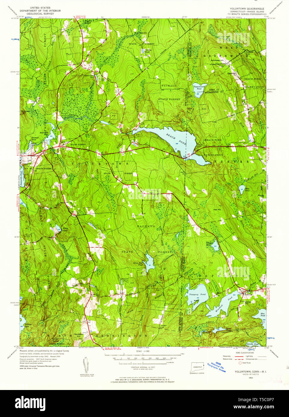 USGS TOPO Map Connecticut CT Voluntown 461149 1953 24000 ...