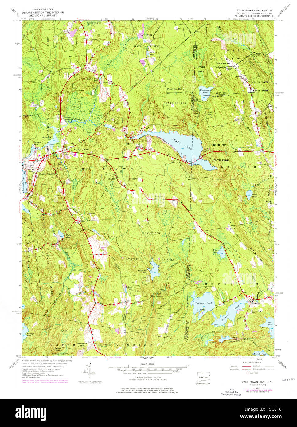 USGS TOPO Map Connecticut CT Voluntown 461151 1953 24000 ...
