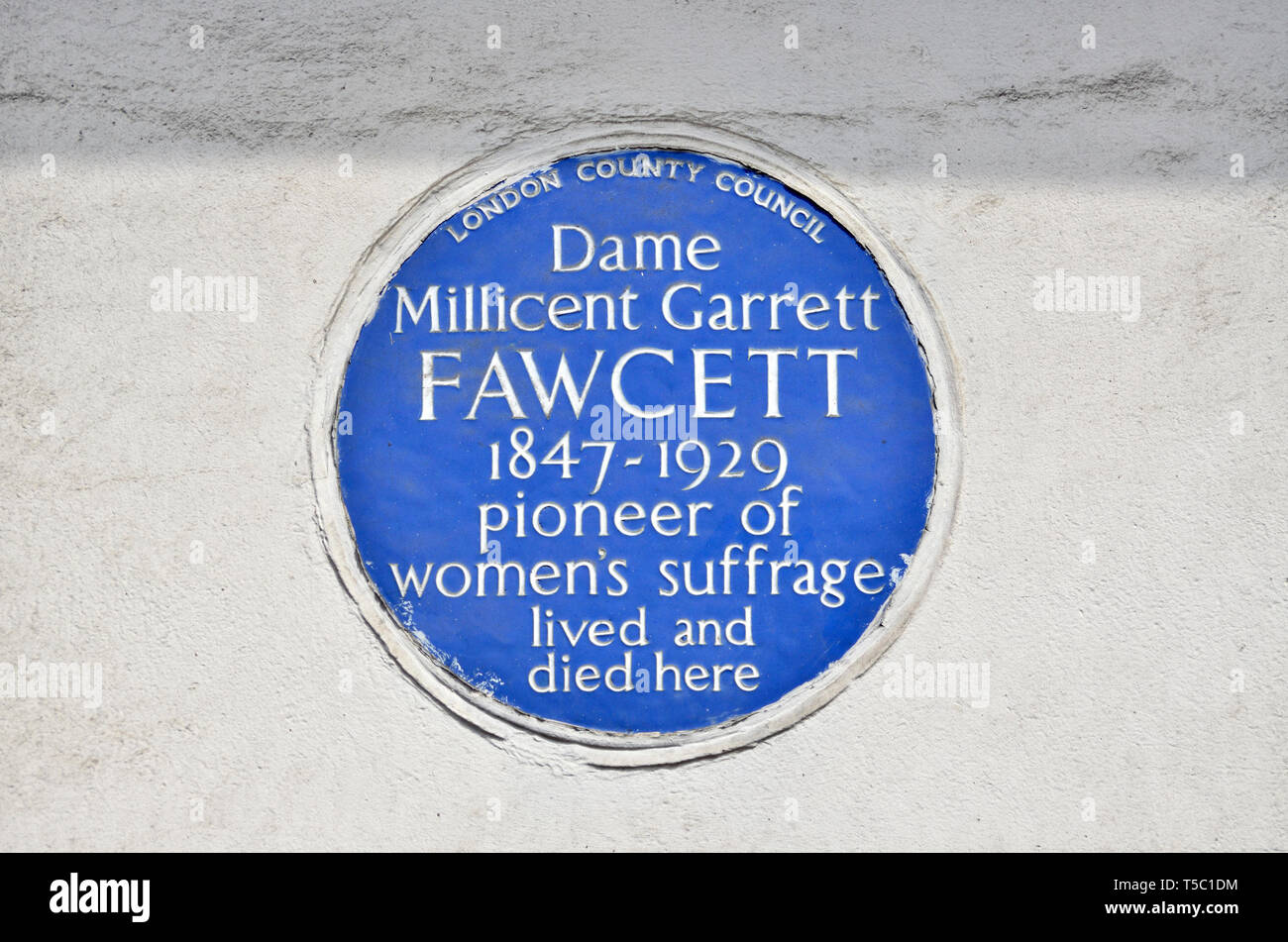 London, England, UK. Commemorative Blue Plaque: Dame Millicent Garrett FAWCETT (1847-1929) pioneer of women's suffrage, lived and died here. 2 Gower S - Stock Image