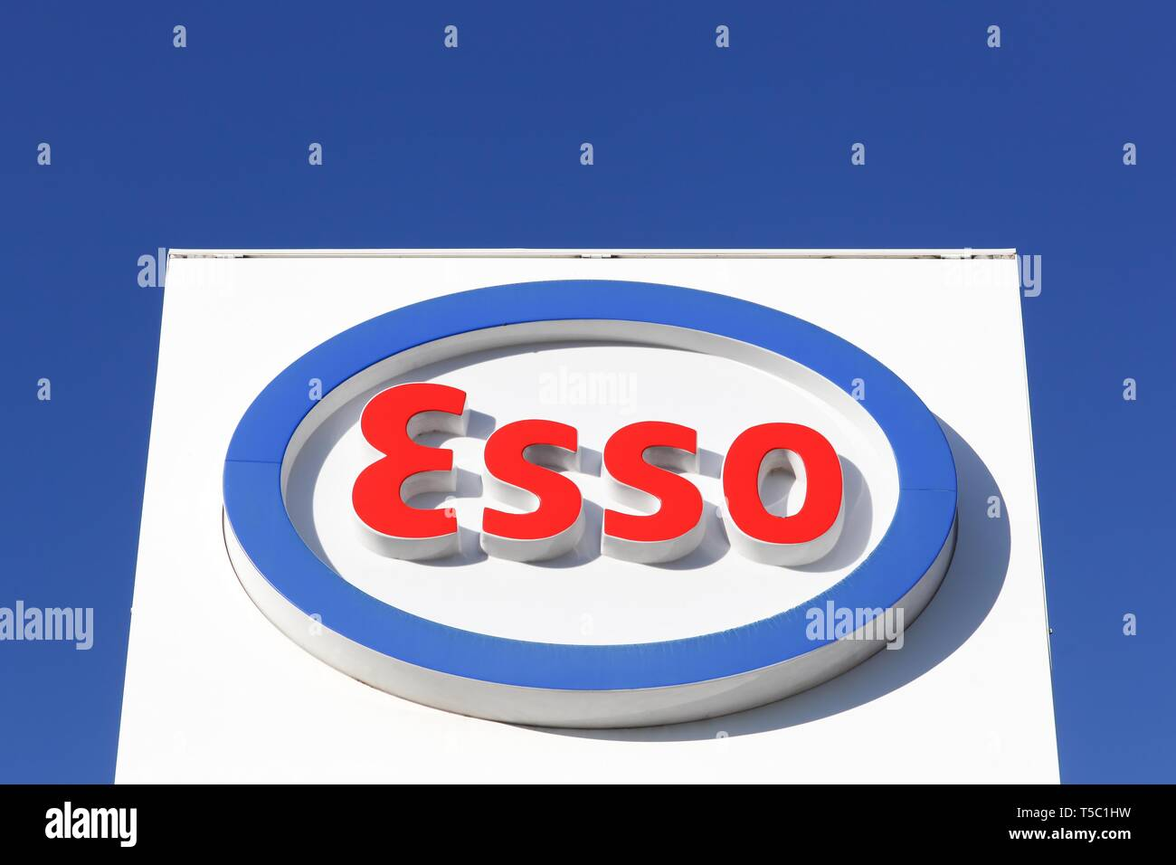 Montelimar, France - November 2, 2018: Esso logo on a panel. Esso is an international trade name for ExxonMobil - Stock Image