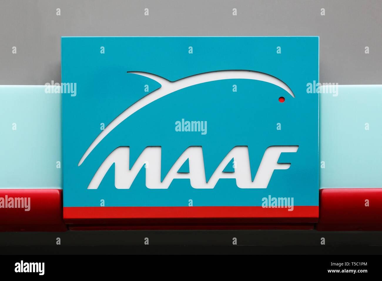 Bourg, France - Avril 7, 2019: MAAF assurances logo on a wall. MAAF Assurances is a French mutual insurance company - Stock Image