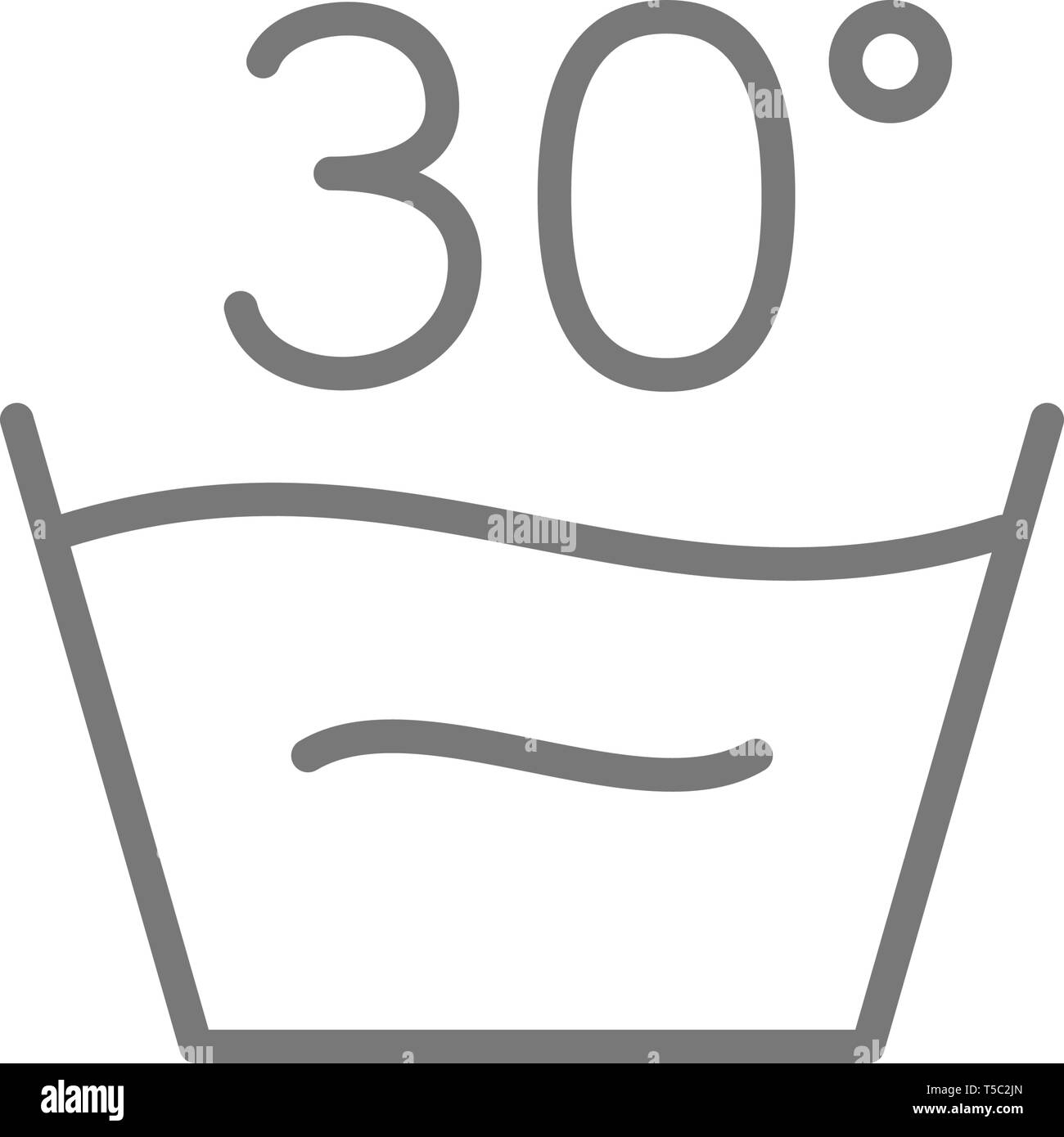 Gentle, delicate laundry, 30 degrees washing temperature line icon. - Stock Vector