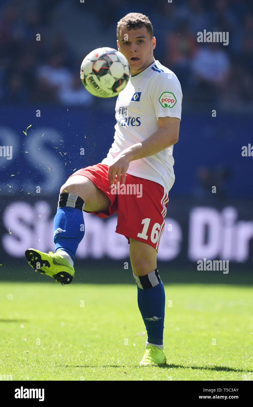 HAMBURG, GERMANY - APRIL 20: Vasilije Janjicic of Hamburg runs with the ball during the second Bundesliga match between Hamburger Sport Verein and FC  - Stock Image