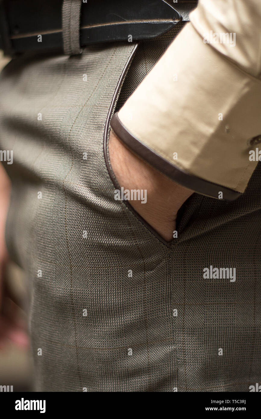 Handsome man wearing Formal Trouser and Shirt for Work. - Stock Image