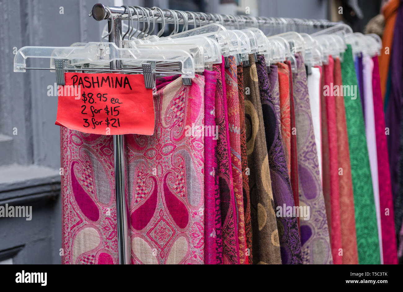 pashmina scarf skirts for sale in Old Port, Maine - Stock Image