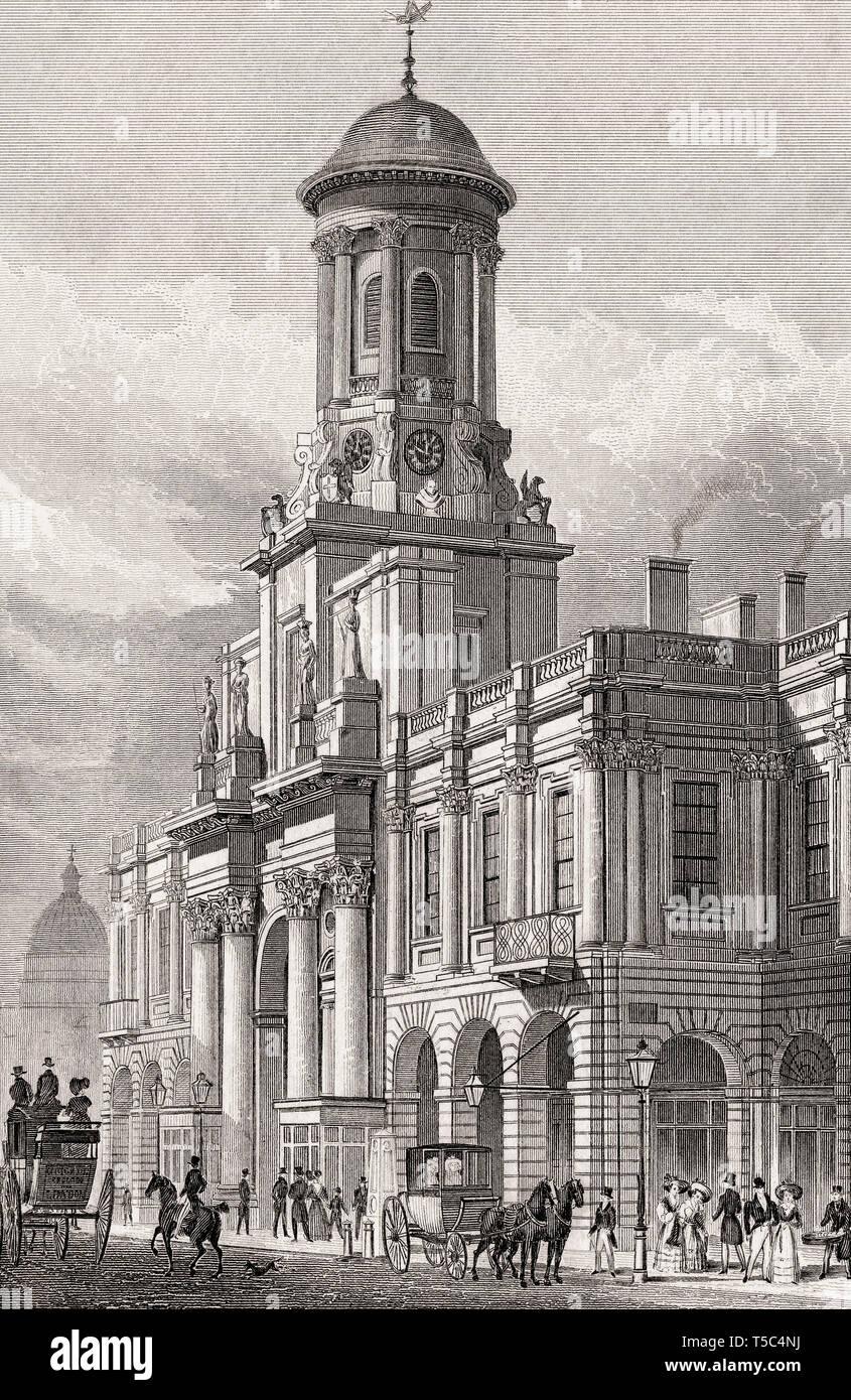 The Royal Exchange, London, illustration by Th. H. Shepherd, 1828 - Stock Image