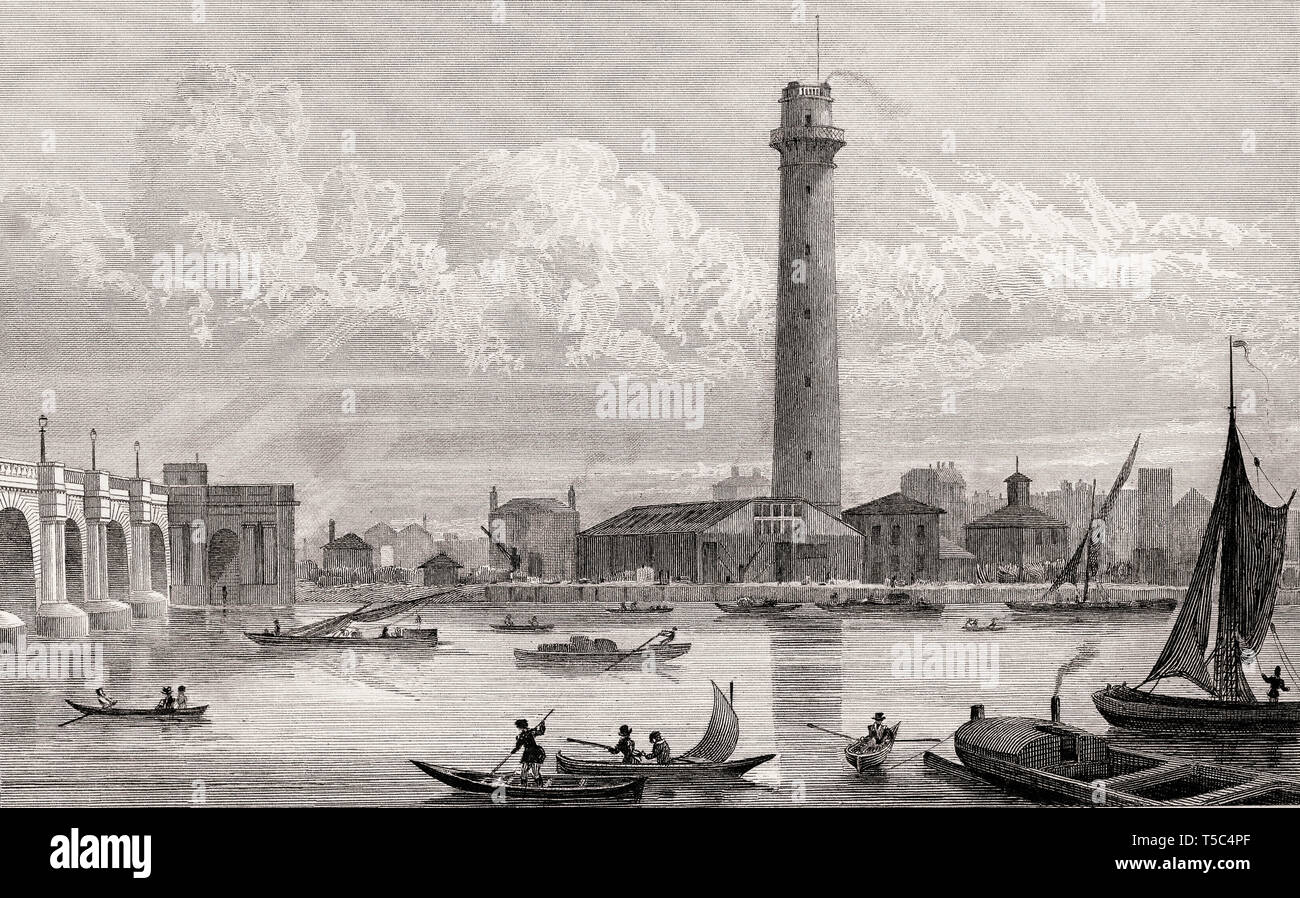 The New Shot Mill, London, illustration by Th. H. Shepherd, 1828 - Stock Image