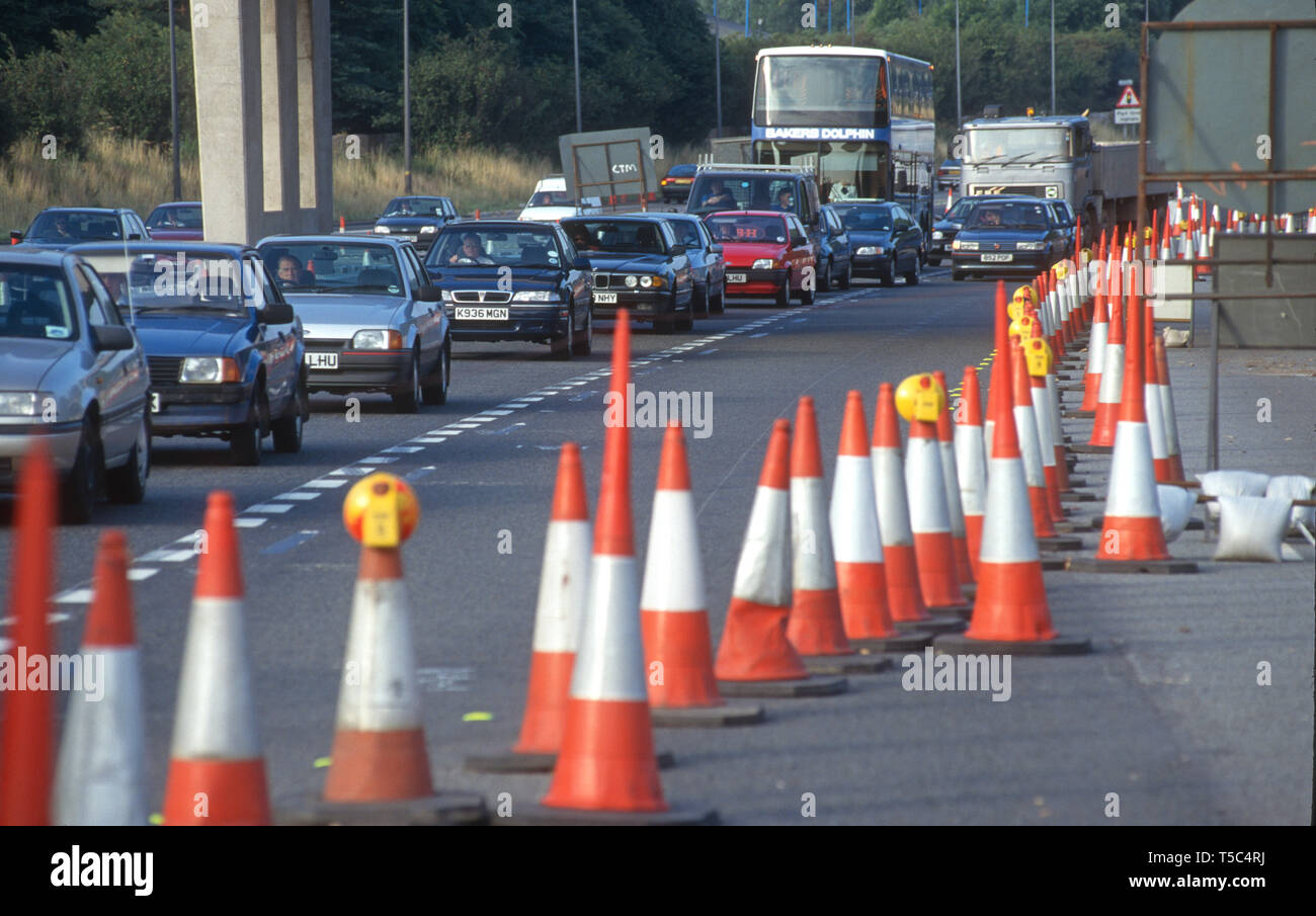 Traffic cones on the M5 near Avonmouth in 1996 UK - Stock Image
