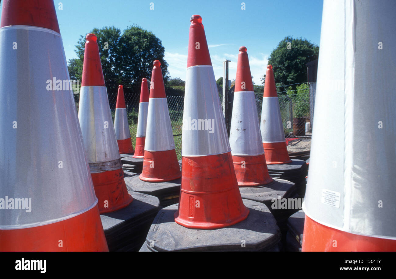 Traffic cones UK - Stock Image