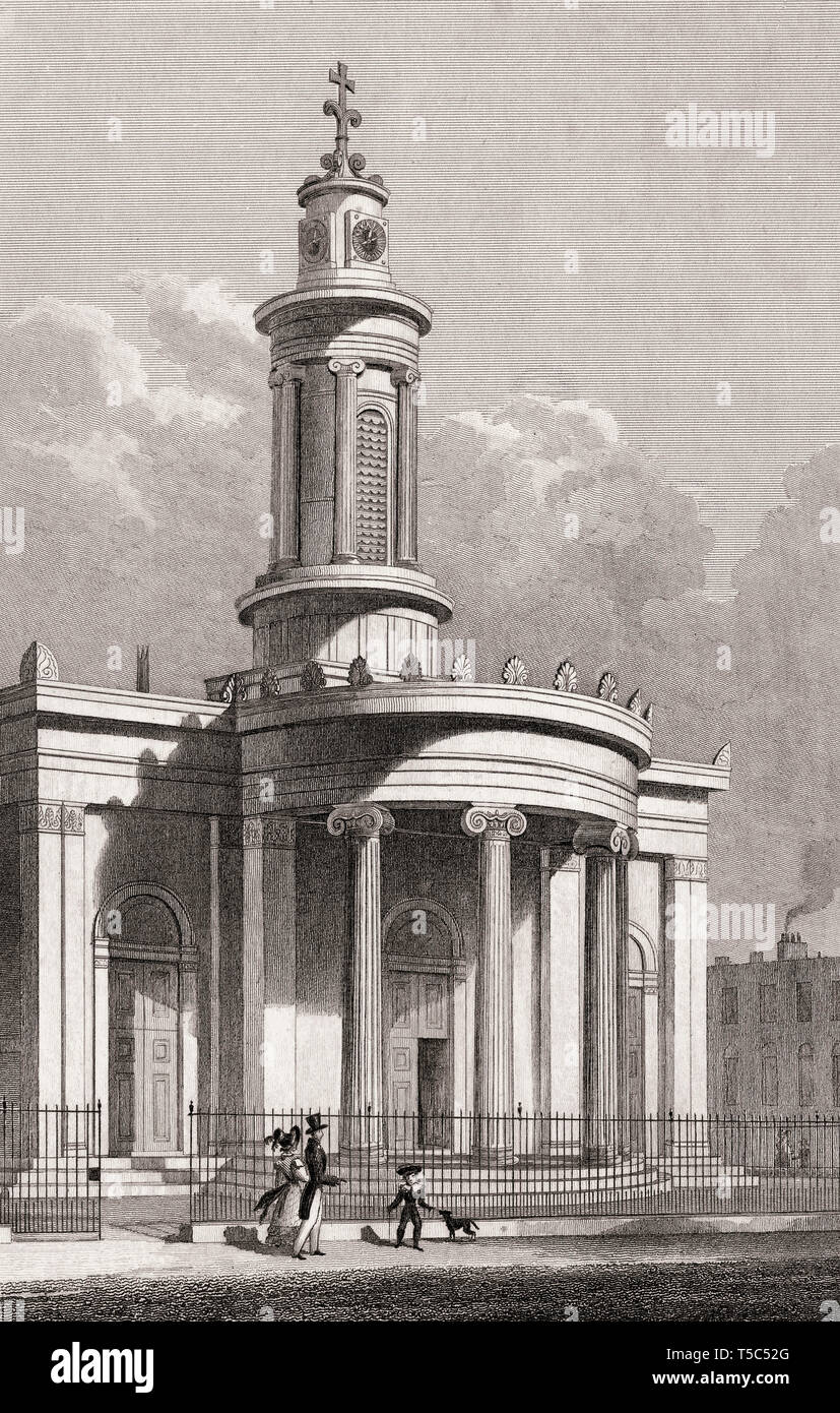 All Saints Cathedral, Camden Street, London, illustration by Th. H. Shepherd, 1828 - Stock Image