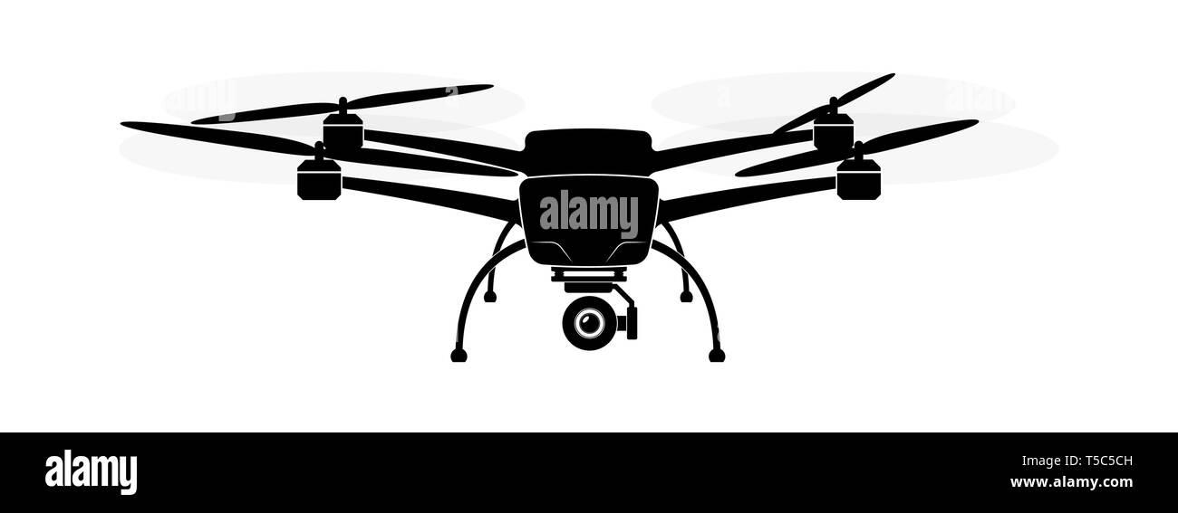 Quadcopter or copter flying in the air. Camera and shooting video or photo from the air. - Stock Vector