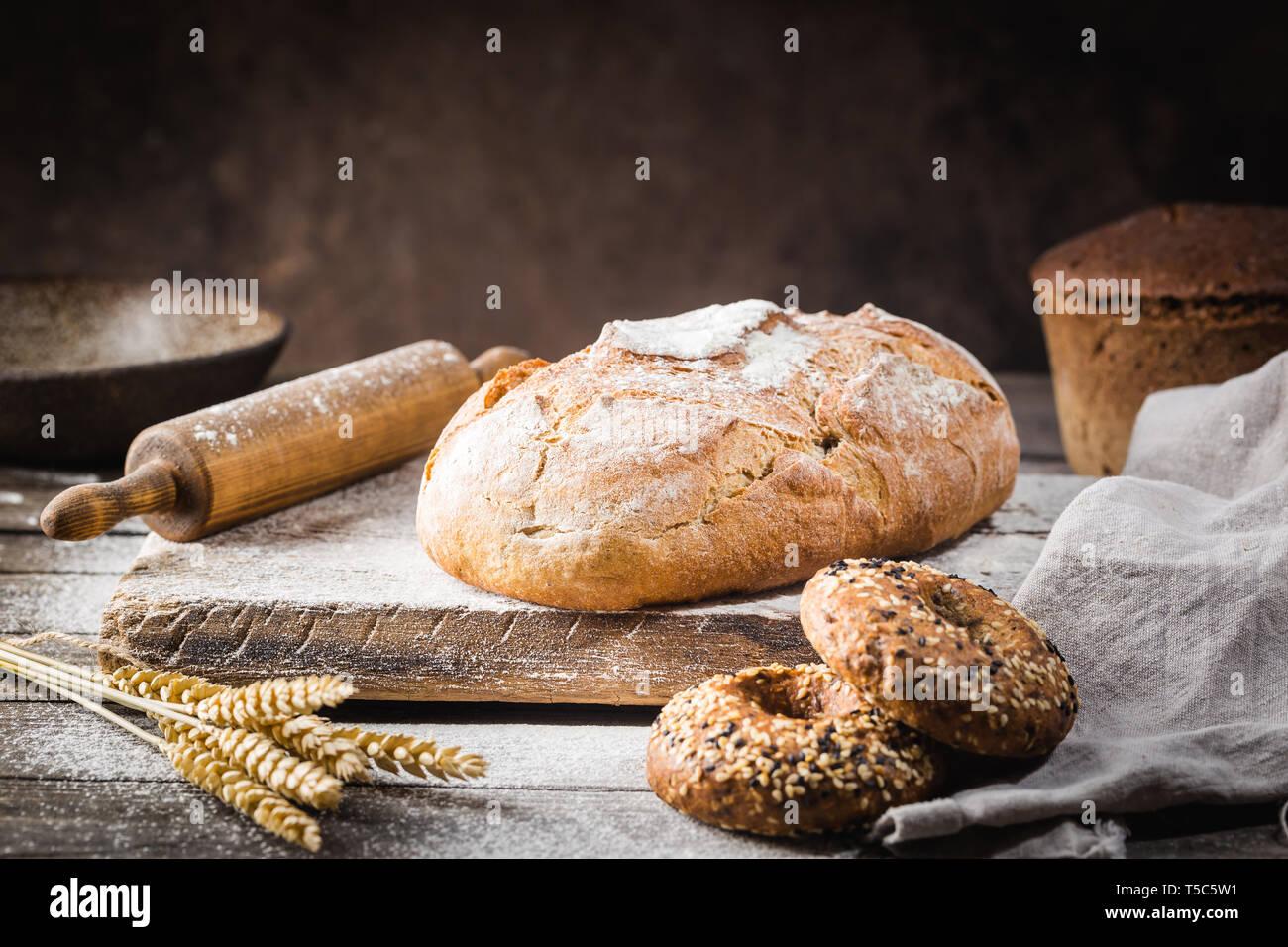 Fresh Homemade Crisp Bread On Wooden Background French