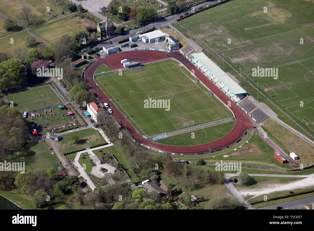 aerial view of Bradford Park Avenue FC football ground & Horsfall Stadium & Bradford Airedale Athletic Club, West Yorkshire - Stock Image