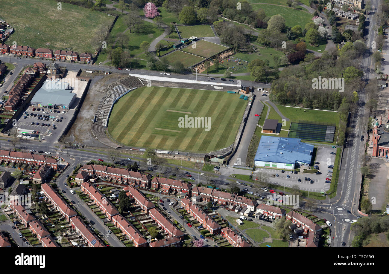 aerial view of the Park Avenue Cricket Ground & Better Gym Bradford, West Yorkshire - Stock Image