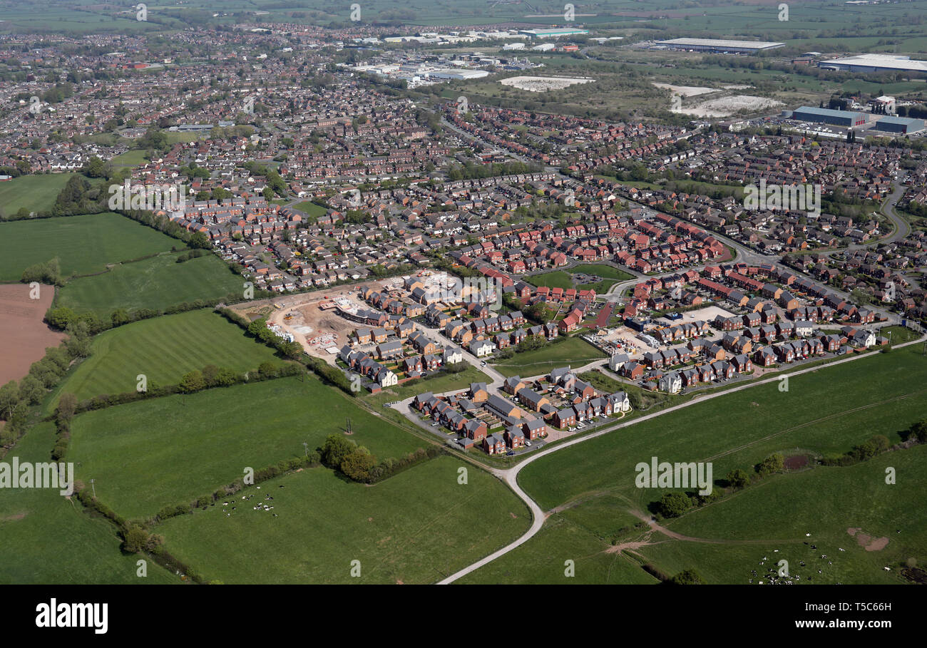 aerial view of new homes being built at Middlewich, Cheshire, UK - Stock Image