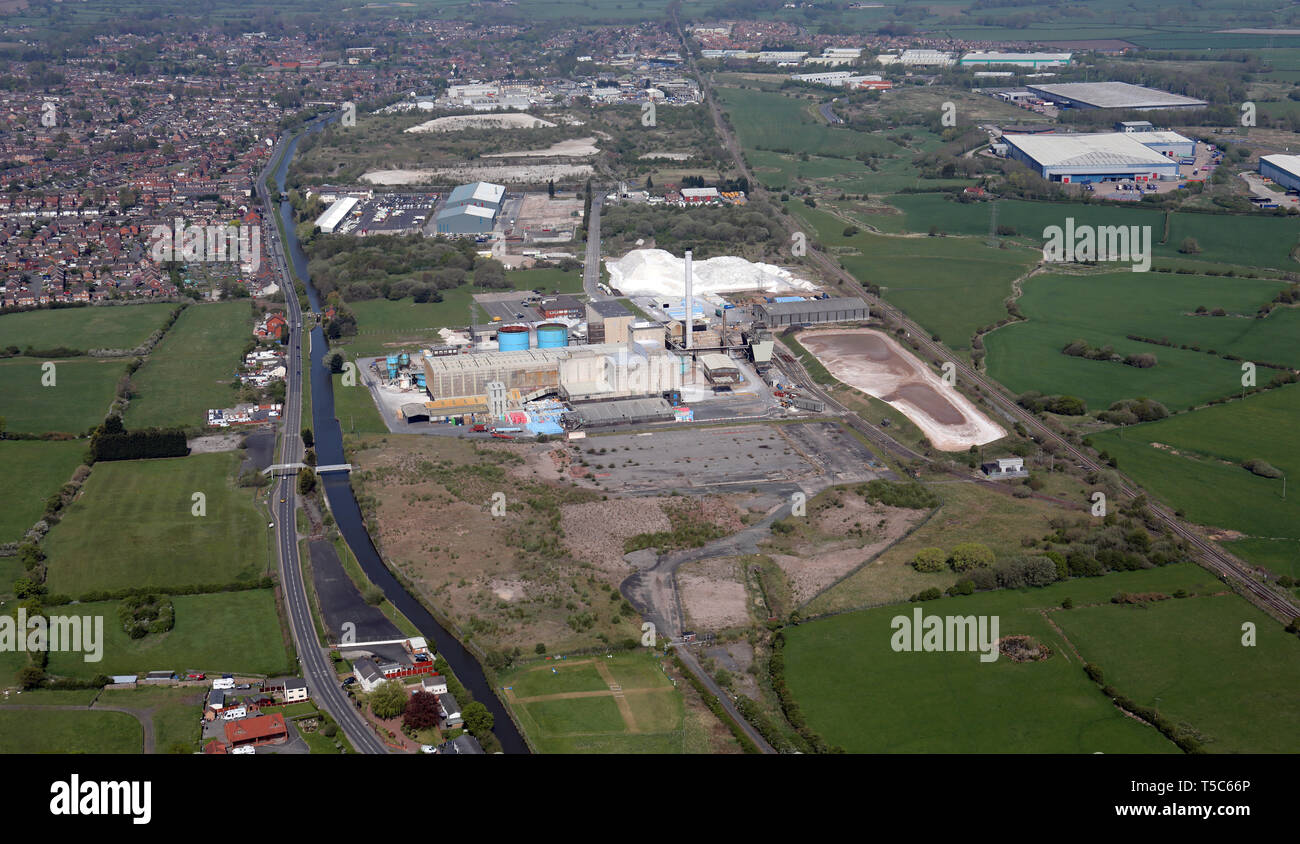 aerial view of the British Salt Limited factory plant at Middlewich, Cheshire, UK - Stock Image