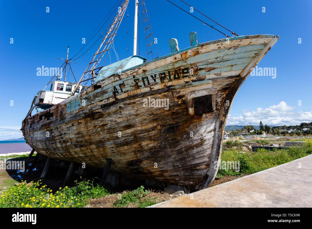 Abandoned fishing boat, Polis harbour, Northwest Cyprus - Stock Image