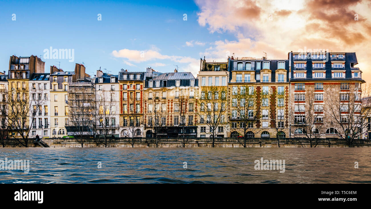 Digital manipulation of banks of river Seine are flooded in Paris, France - climate change concept. - Stock Image