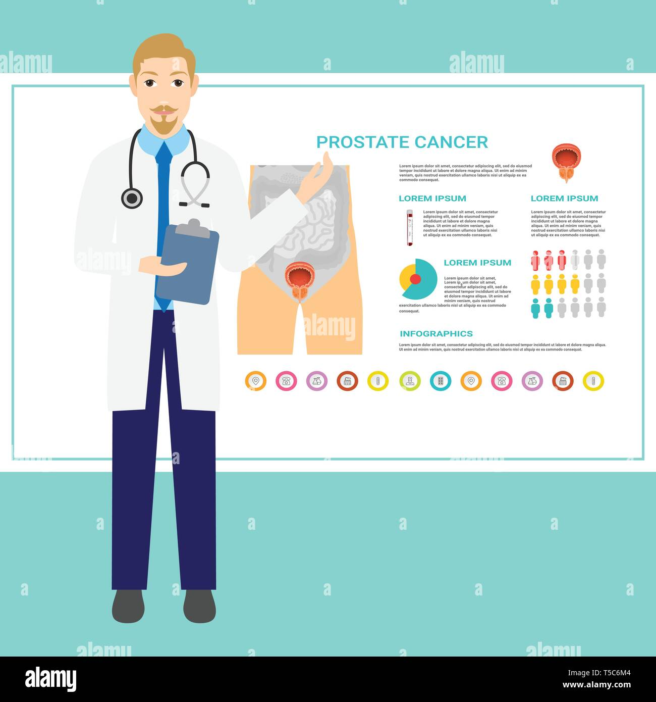 Urology medicine, urologist. Genitourinary surgery, medicine and pharmacy, therapy and urodynamic studies. Telemedicine, mobile app. Vector. Online - Stock Image