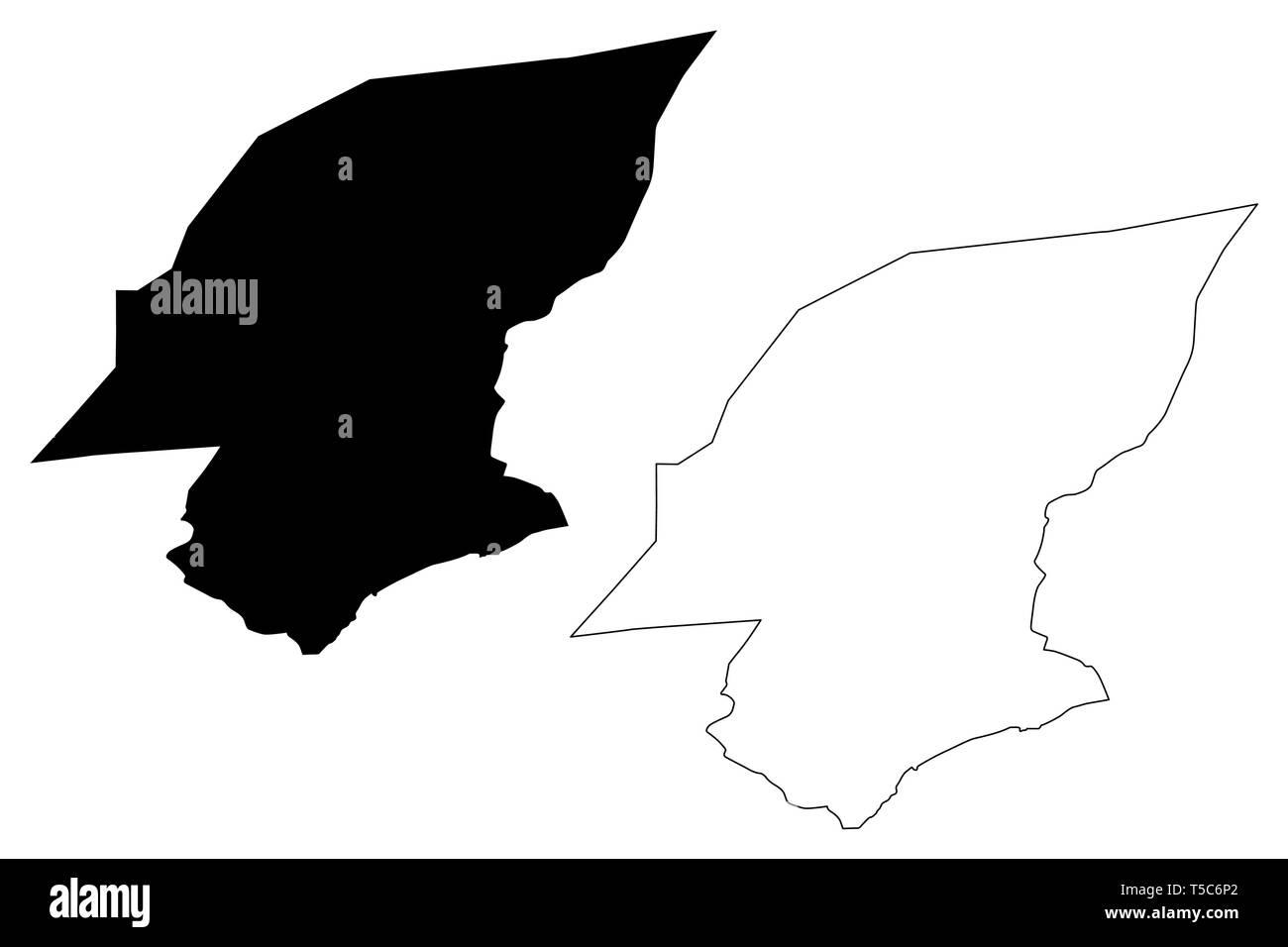 Hadhramaut Governorate (Governorates of Yemen, Republic of Yemen) map vector illustration, scribble sketch Hadramawt map - Stock Vector