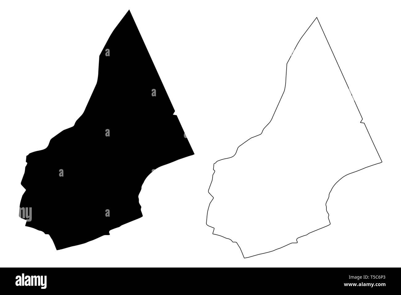 Al Mahrah Governorate (Governorates of Yemen, Republic of Yemen) map vector illustration, scribble sketch Mahra map - Stock Vector