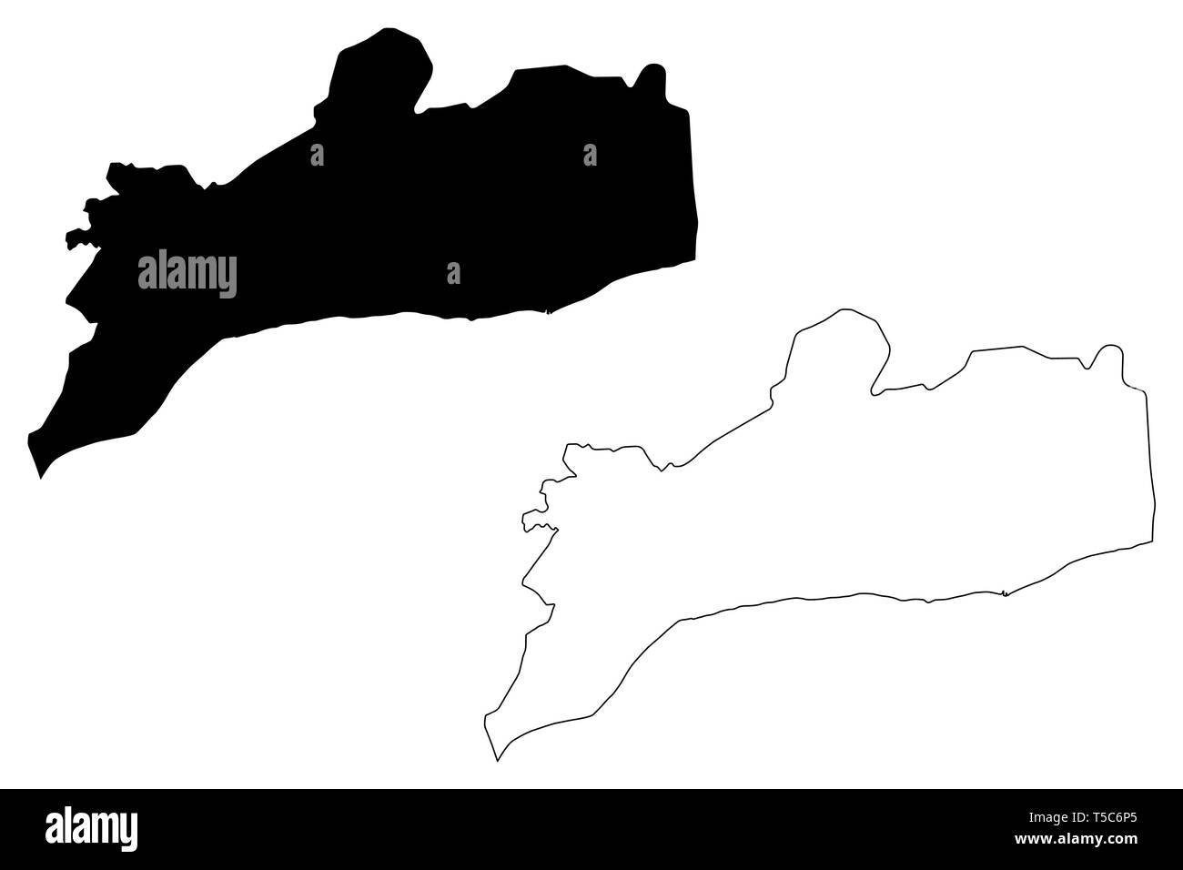Abyan Governorate (Governorates of Yemen, Republic of Yemen) map vector illustration, scribble sketch Abyan map - Stock Vector