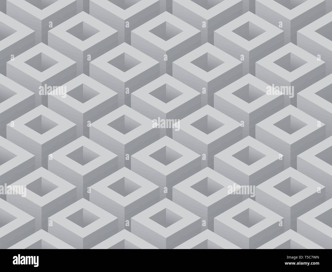 Gray Isometric cubes abstract seamless background vector illustration - Stock Image